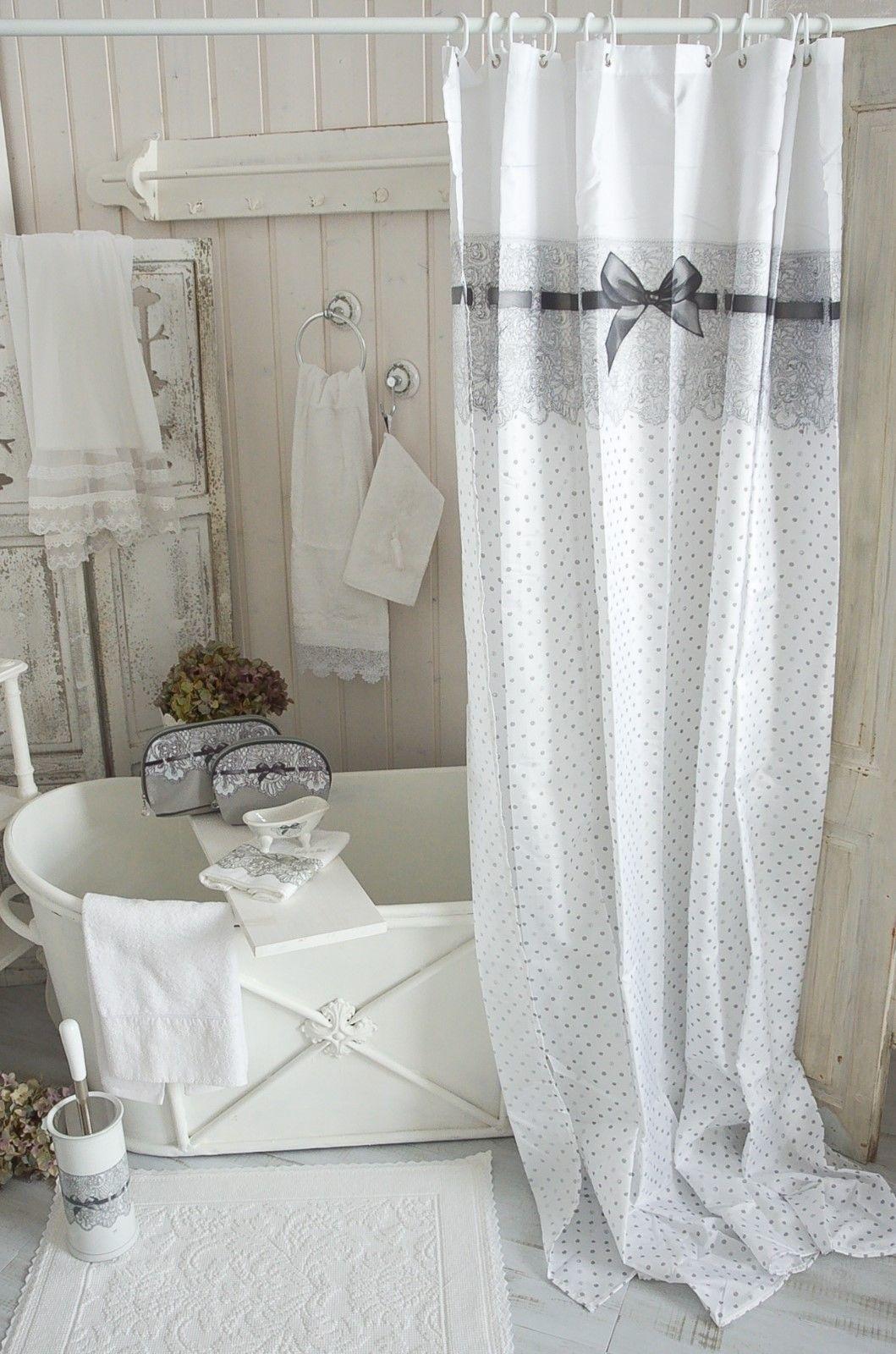 Mathilde M Duschvorhang 180 X 200 Bad Dusche Vorhang Shabby Vintage Landhaus Ebay Duschvorhang Dusche Vorhänge