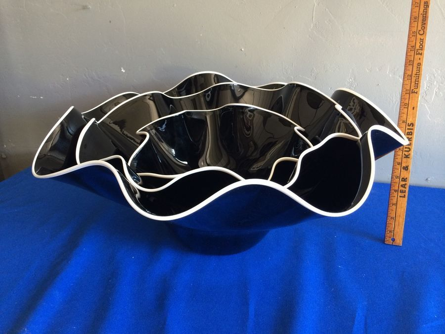 Large Purple Hand-Blown Glass Nesting Bowls - Each is Signed - Similar to Dale Chihuly