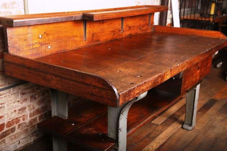 Vintage Industrial Rustic Wood U0026 Cast Iron Work Bench   Table   Desk