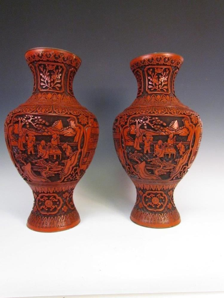 The Best Pair Of Antique Chinese Red Cinnabar Lacquer Vases19