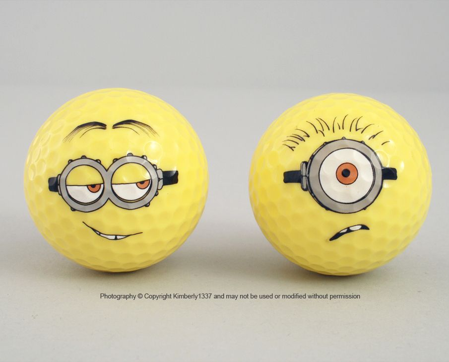 Despicable Me Minion Golf Balls Minion Mayhem Yellow Set of 2 NEW (7/6)......I may have to start golfing just so I have an excuse to buy these ;)