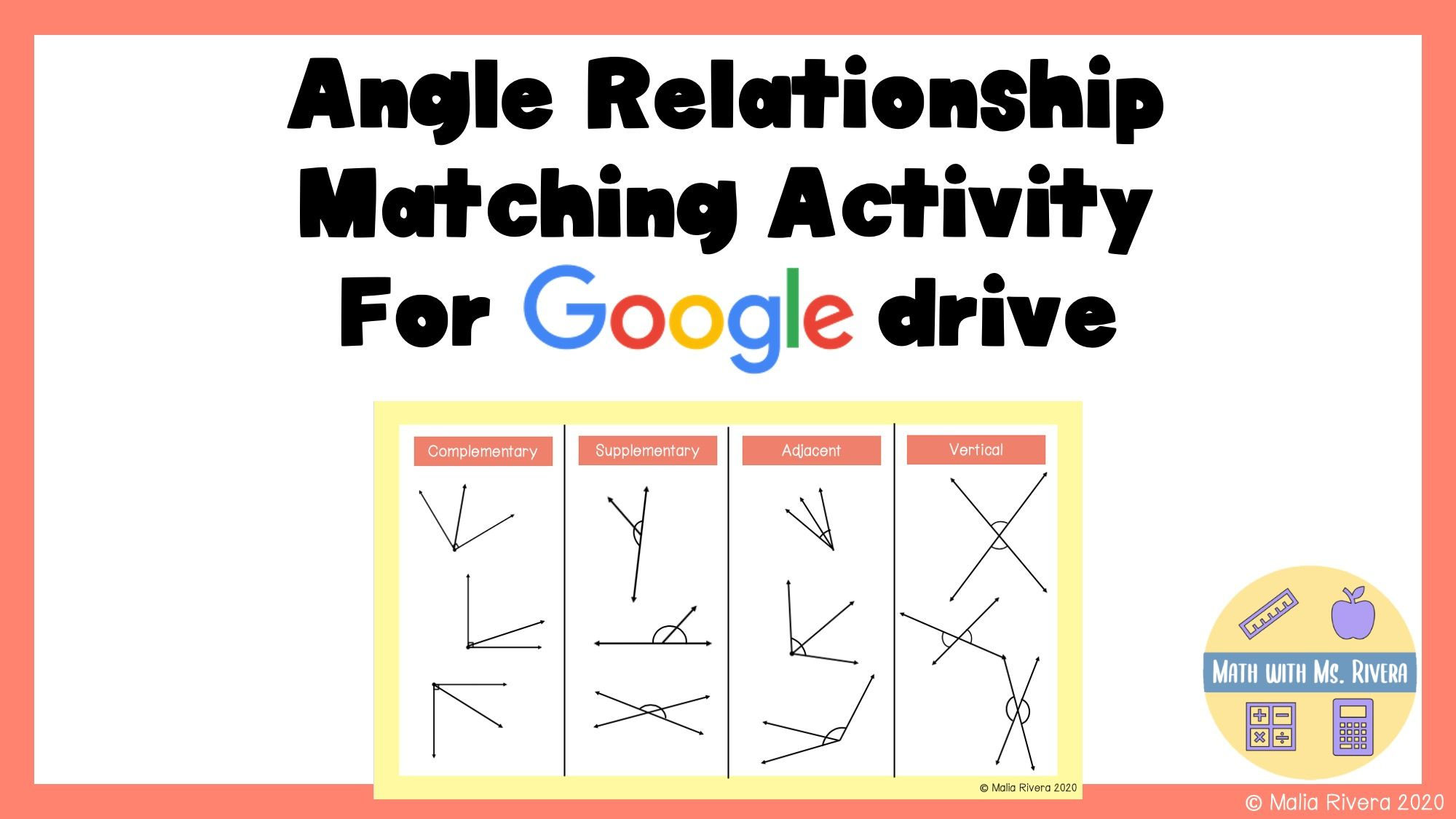 Angle Relationships Digital Matching Activity In