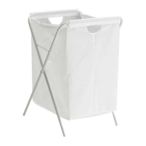 Ikea Jall White Laundry Bag Basket With Foldable Stand Capacity