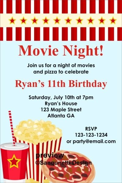 movie night invitation click to personalize in 2018 campbell s 4th