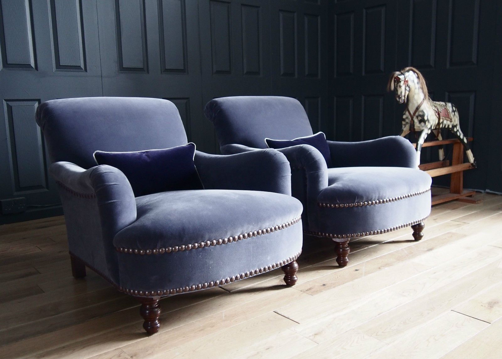pair of george smith jules armchairs in designers guild. Black Bedroom Furniture Sets. Home Design Ideas