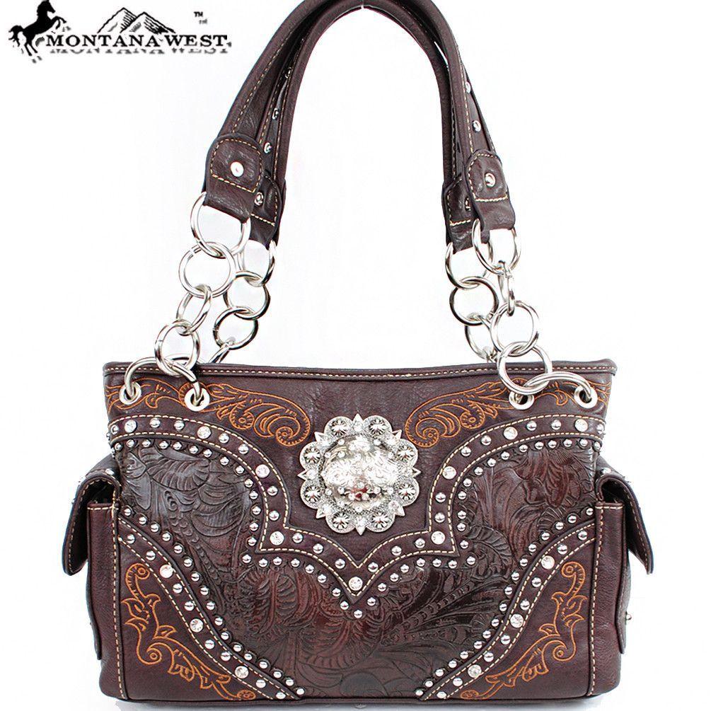Montana West TCE-8085 Floral Rhinestones Concho Chain Shoulder Bag