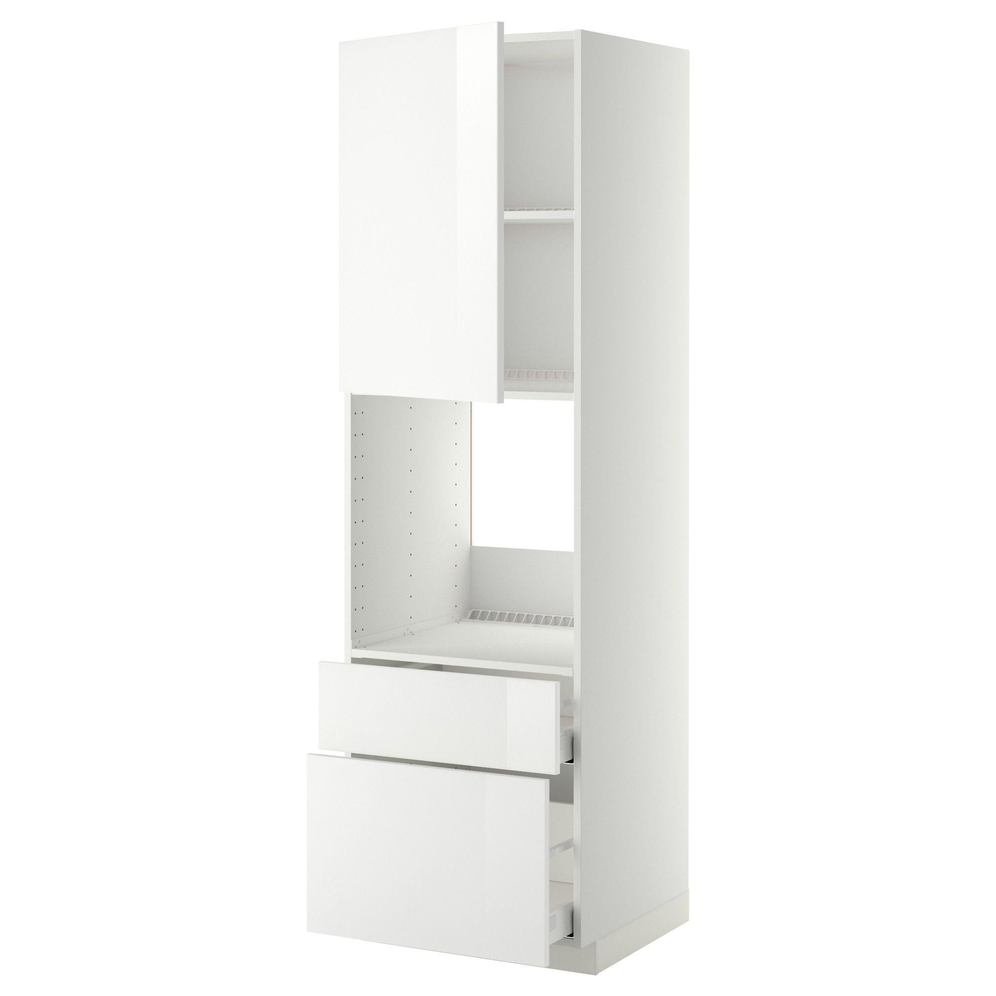 METOD/MAXIMERA Høyskap f ovn skuff/2 fr/1 m/h sk - hvit, Veddinge hvit, 60x60x200 cm - IKEA