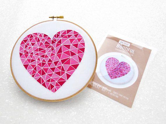 Corazón de color rosa bordado tela patrón, Idea de regalo de San Valentín DIY, principiante bordado Kit, arte moderno geométrica aguja, DIY día regalo de las madres