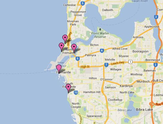 beaches map of fremantle western australia includes all fremantles beaches and suburb boundaries