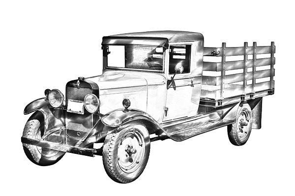 1929 chevy truck 1 ton stake Body Illustration prints