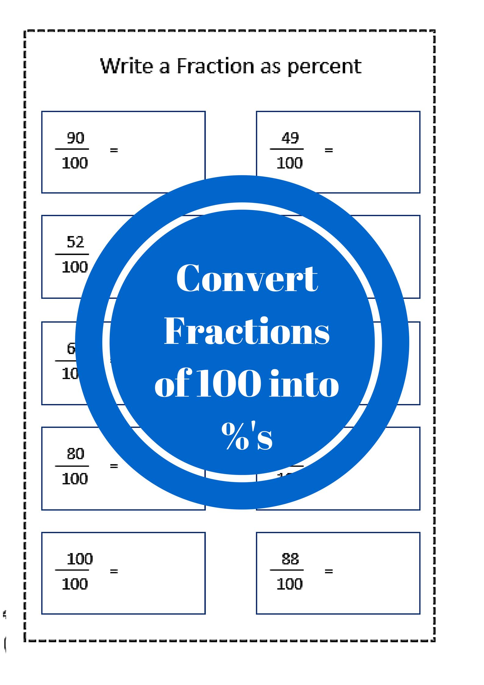 Fraction to percent worksheet free printables | Mathematics ...