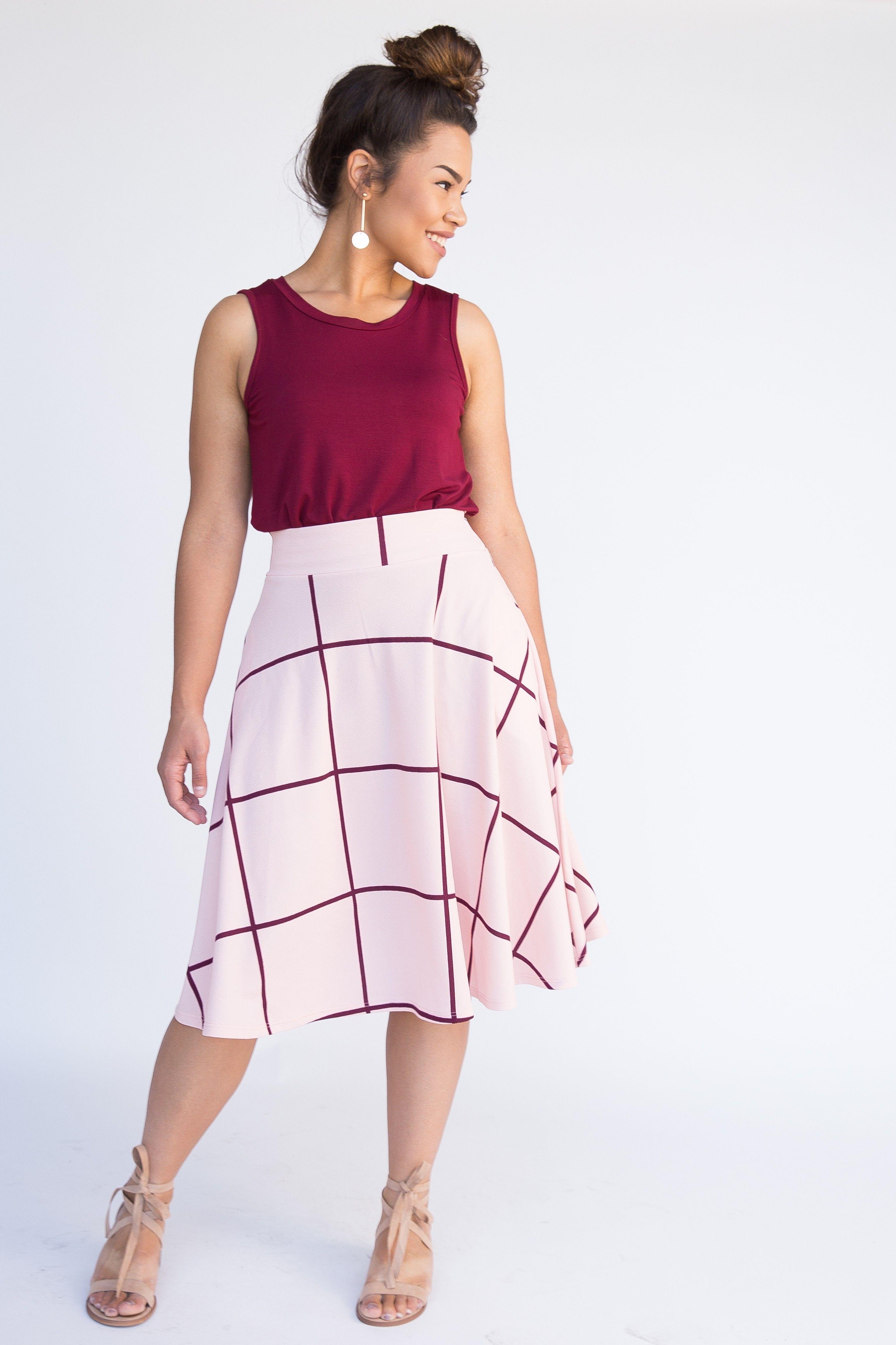 686a786215 Agnes & Dora - Midi Skirt Blush and Berry Window Pane --  WWW.BEESKITESHOP.COM --