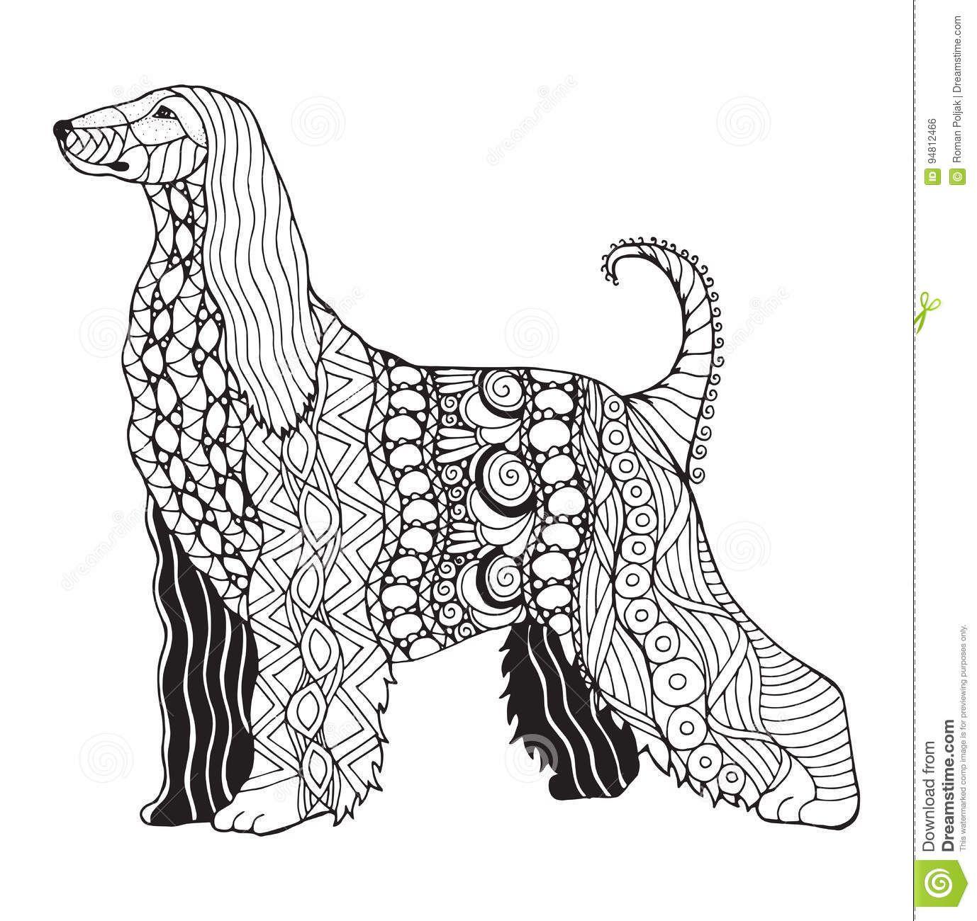Afghan Hound Dog Zentangle Stylized Vector Illustration