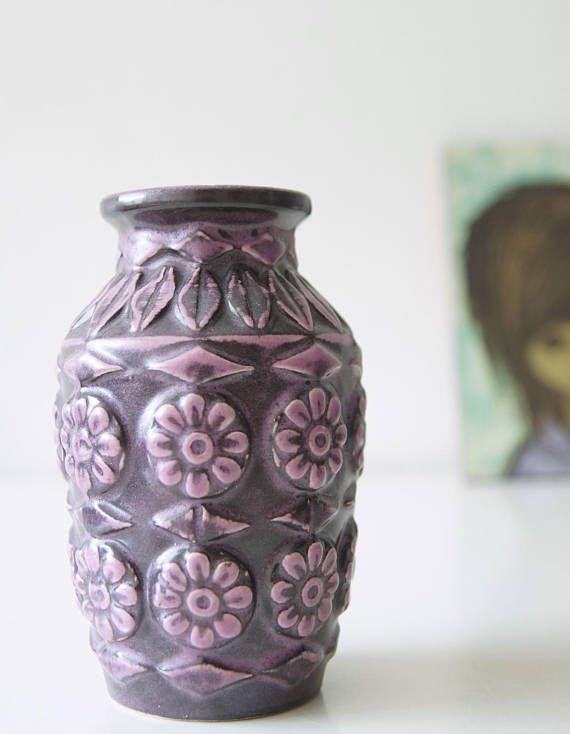 Purple Midcentury Vase Made By Bay West Germany Midcentury Vases