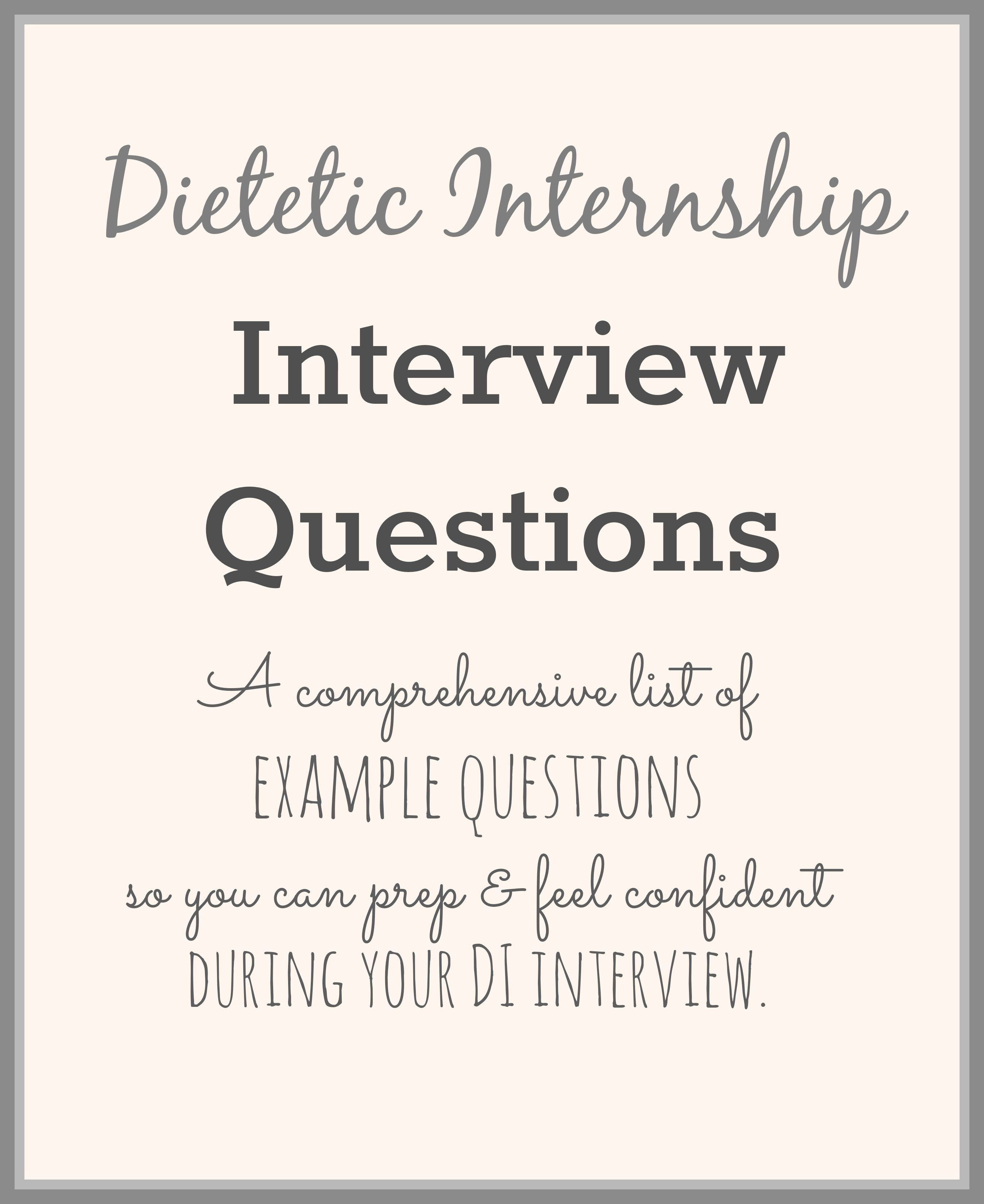 Dietetic internship interview questions this or that