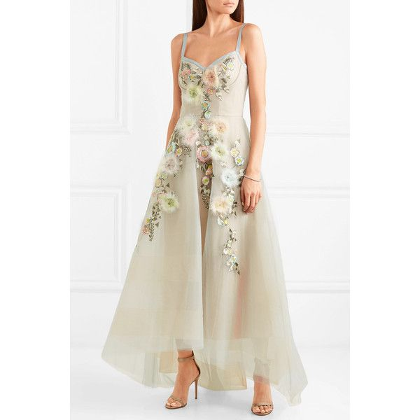 Marchesa Notte embroidered top gown
