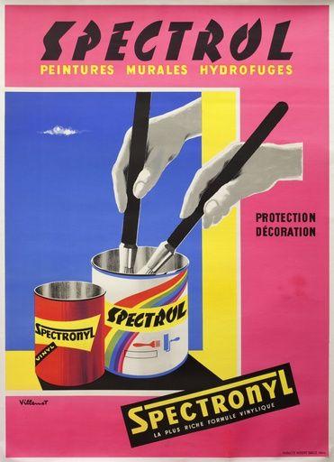 Spectrol, peintures murales hydrofuges - Spectronyl, la plus riche formule vinylique - 1960's - (Bernard Villemot) -