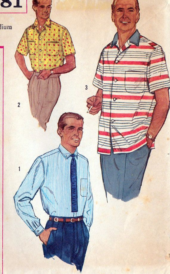 1950s Mens Button Down Office Or Casual Shirt Vintage Sewing