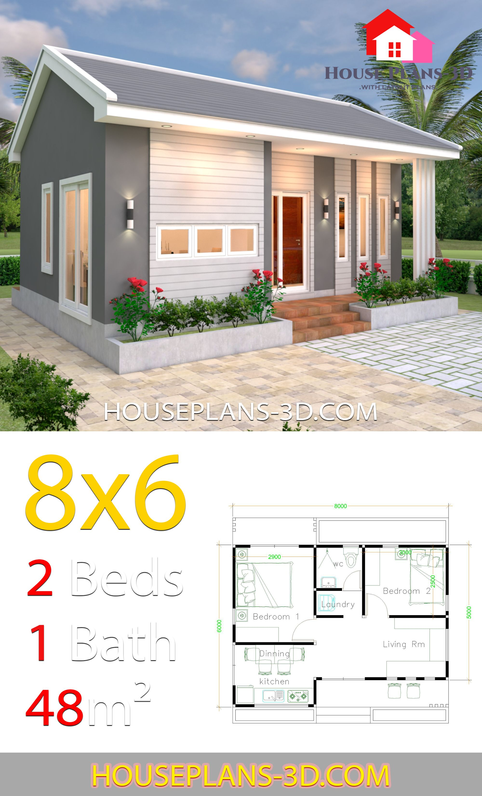 House Design Plans 8x6 With 2 Bedrooms House Plans 3d Bedroom House Plans Guest House Plans Home Design Plans