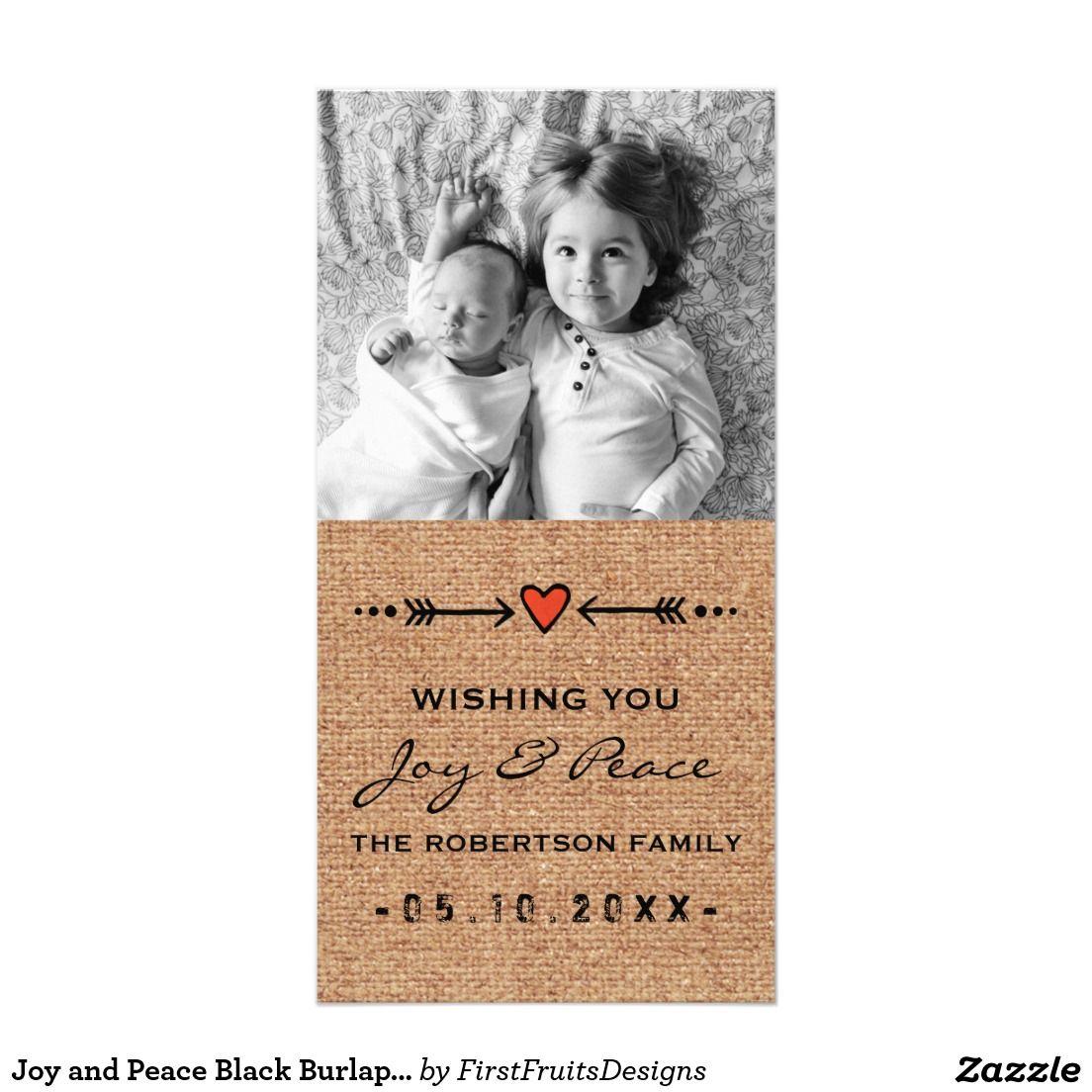 Joy and Peace Black Burlap Arrows Hearts Paper Photo Card
