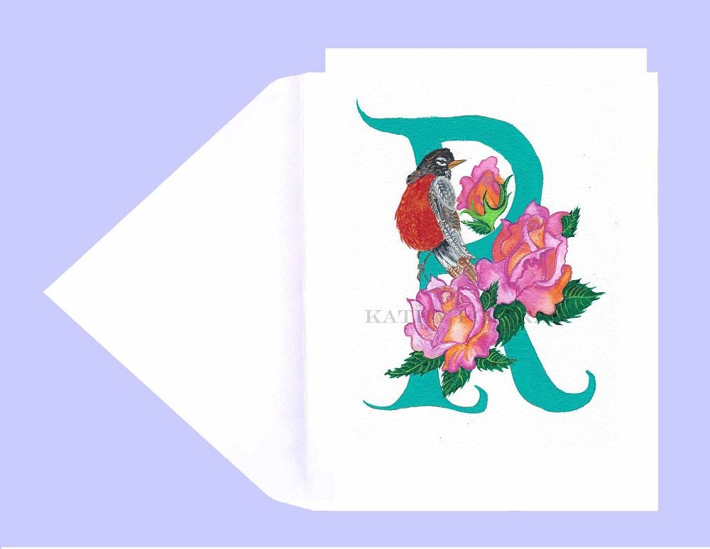 Greeting Card Letter R R Is For Robin Roses Illustrated Letter