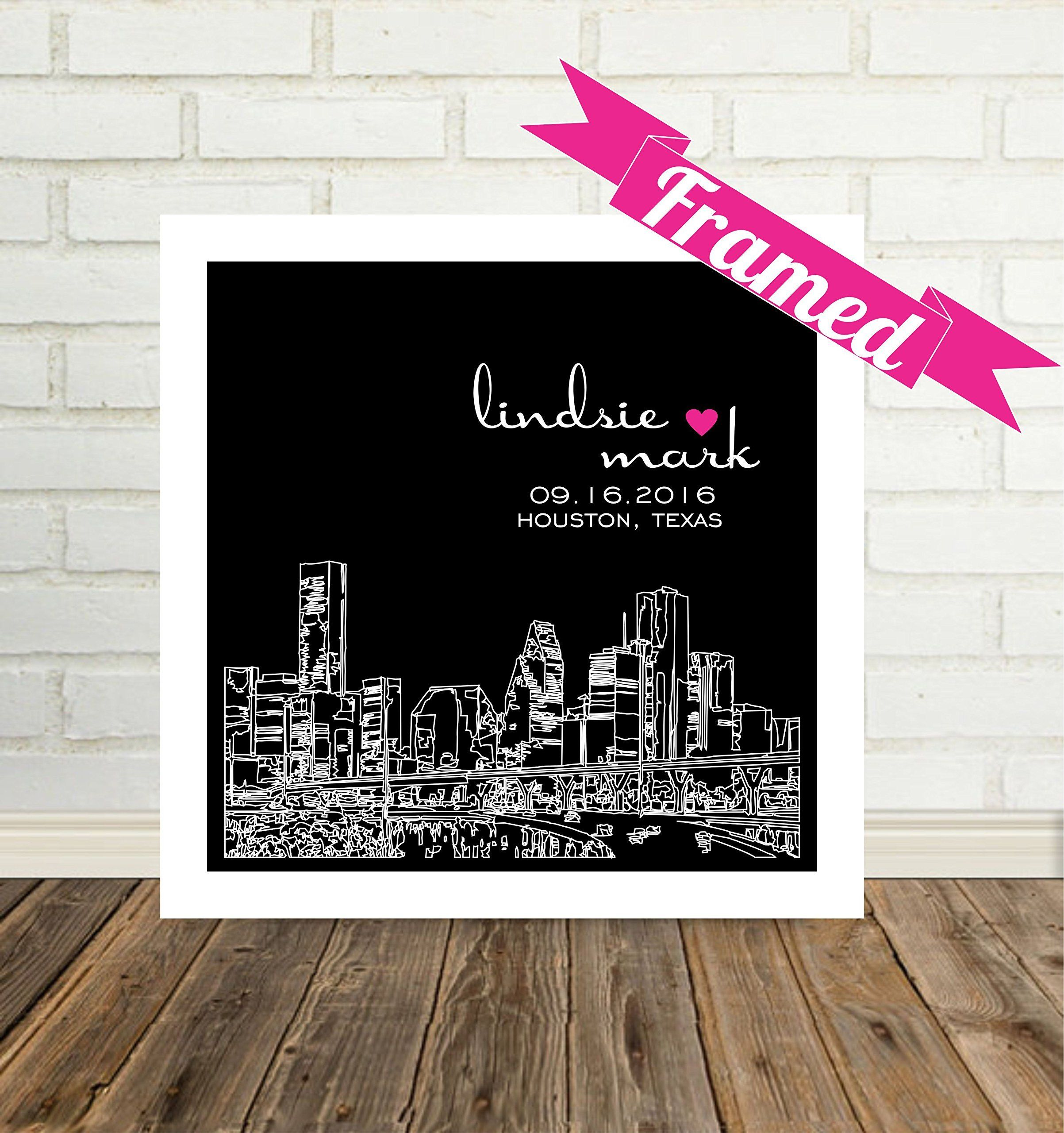 Houston Map Framed%0A Houston Skyline Personalized Wedding Gift Framed Art Houston Art Houston  Print Houston Gift Unique Wedding Gift