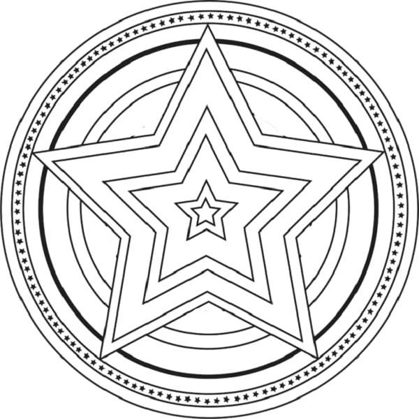 Mandala The Big Star Coloring For Kids Mandala Coloring Pages