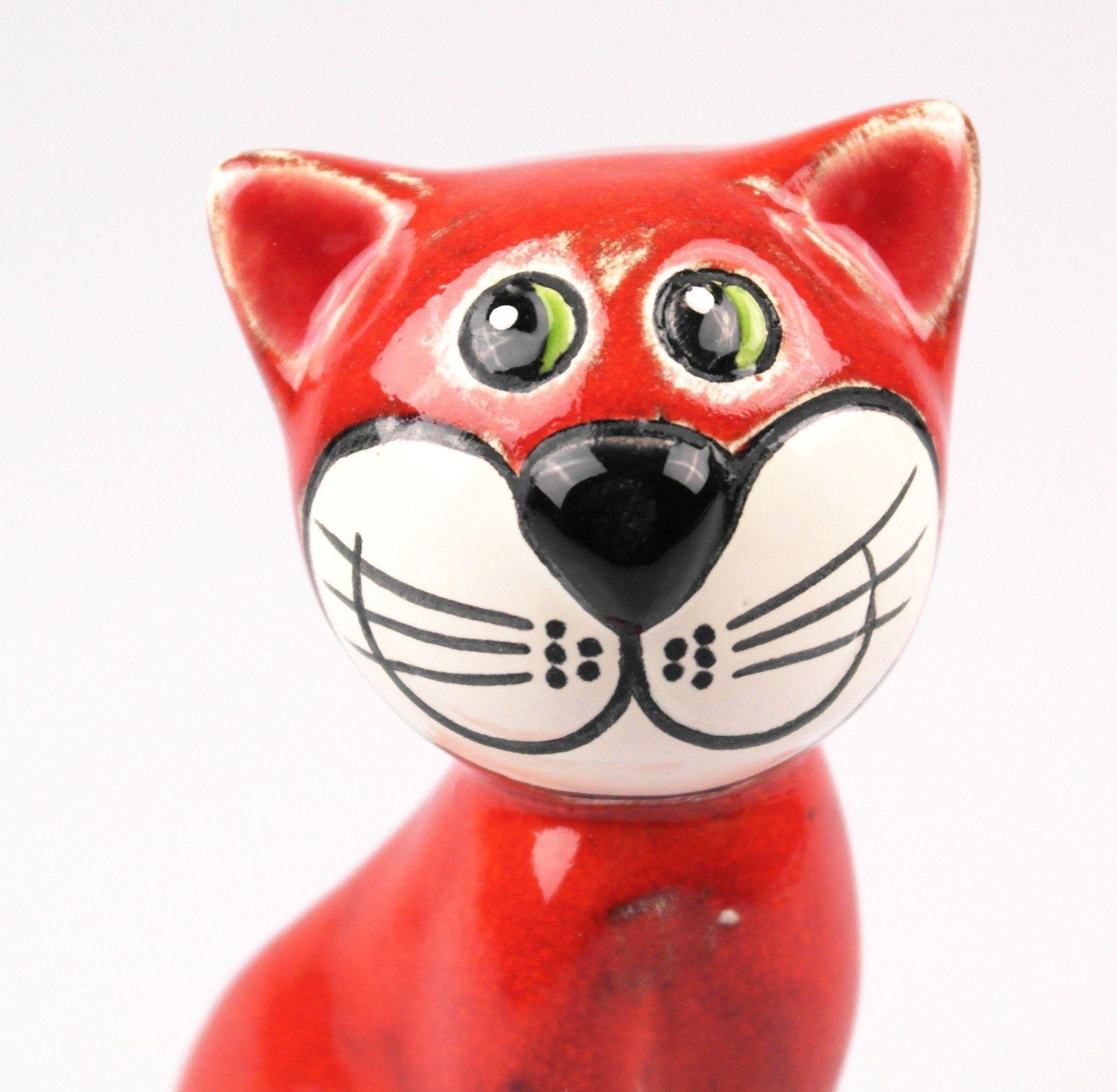 Katze sitzend rot 14 cm Keramik Figur reizende Deko für Heim