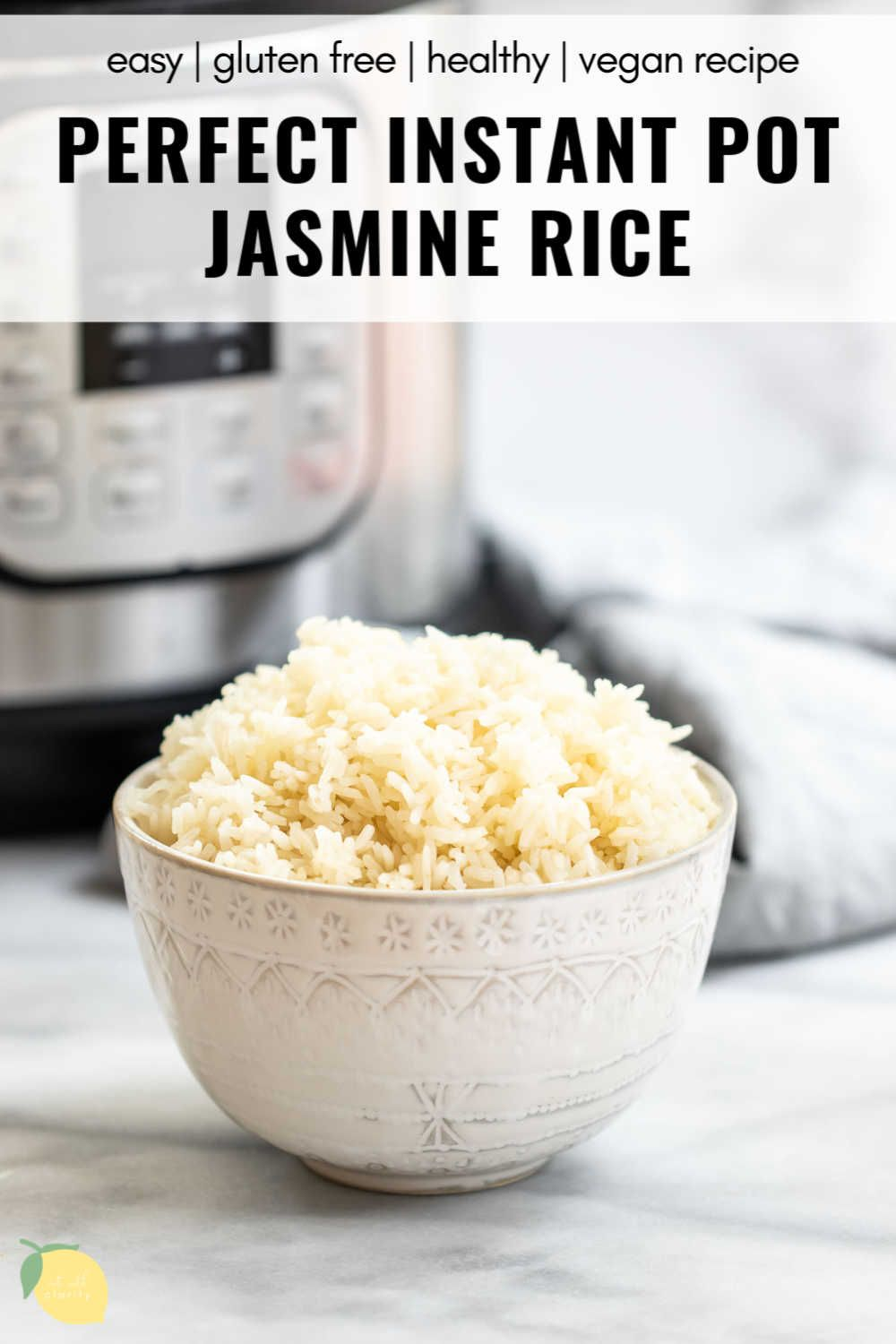 Sick of poorly cooked rice? This instant pot jasmine rice is fluffy and perfectly cooked every time! This easy recipe just requires a few simple ingredients and is naturally gluten free and vegan. It's freezer friendly and perfect for meal prep! In this post I'll show you how to cook perfect rice with a secret tip to give it tons of flavor! #instantpotrecipe #instantpotrice #jasminerice #ricerecipe #eatwithclarity