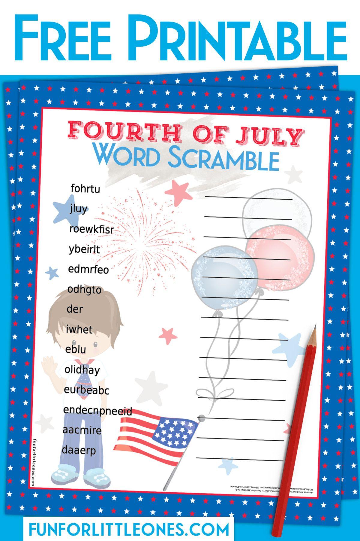 Fourth Of July Word Scramble Boy