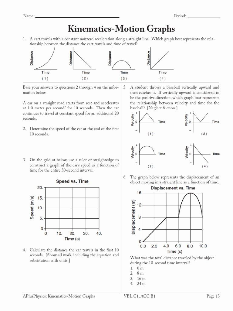 Motion Graph Analysis Worksheet Elegant Graph Time Distance Velocity Acceleration Worksheet Ch In 2020 Motion Graphs Worksheets Motion Graphs Text Features Worksheet