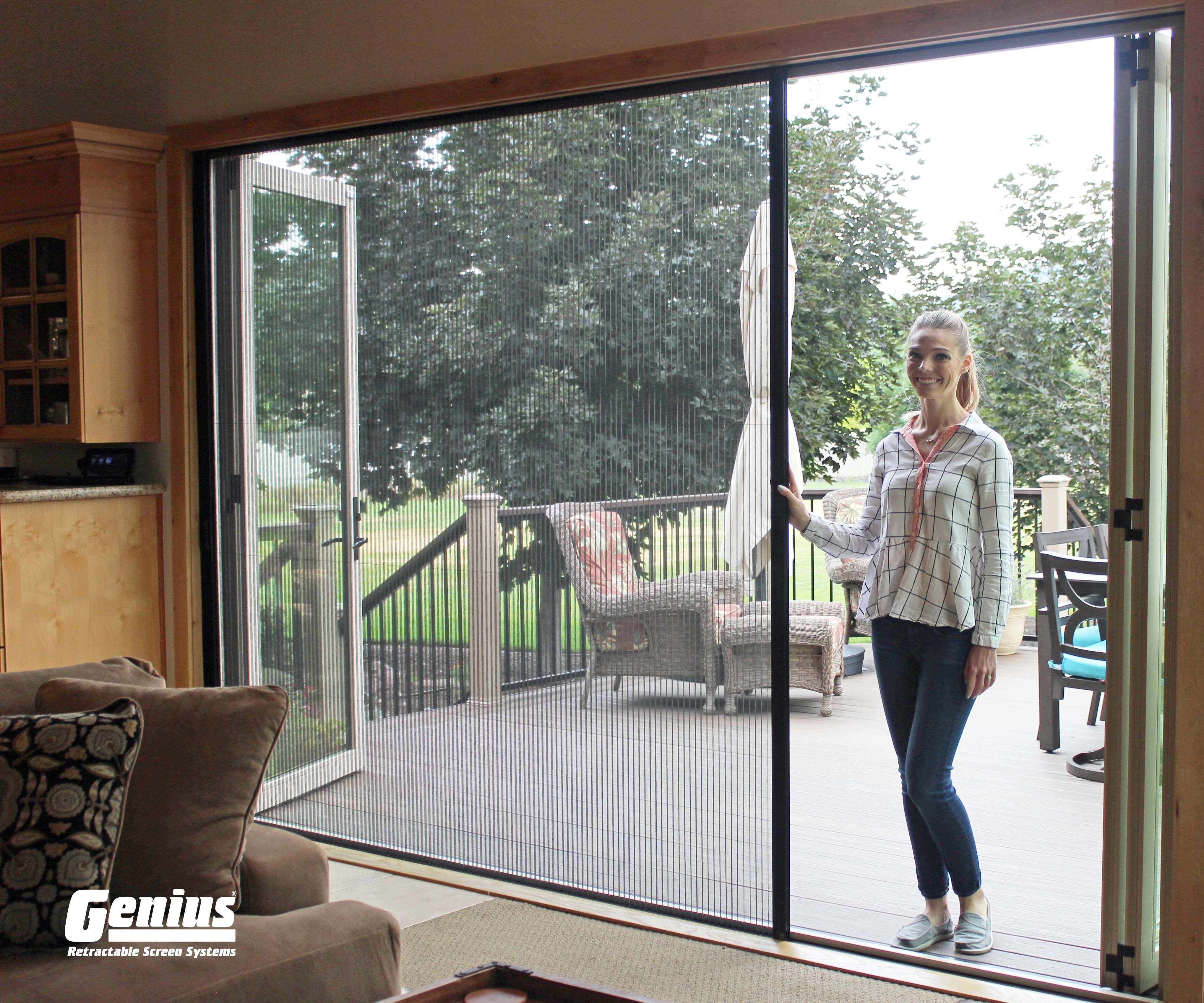 Genius Zigzag1 Pleated Single Screen Panel For Large Openings In 2020 Retractable Screen Screen Door Retractable Screen Porch