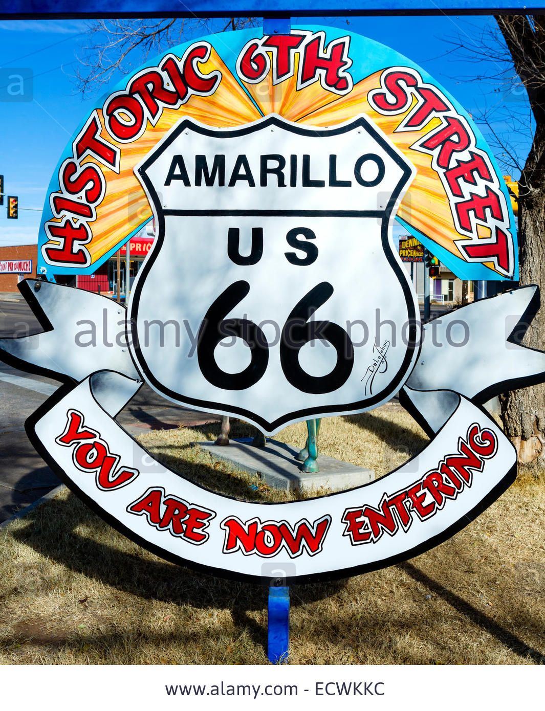 Sign At The Entrance To The Historic 6th Street District On Old Route 66