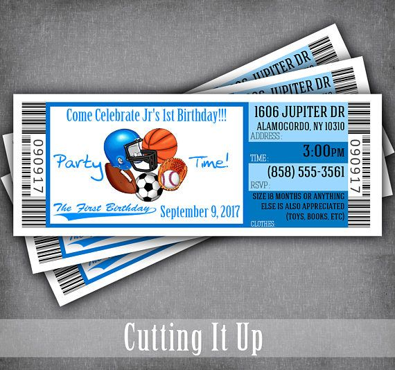 sports birthday party ticket invitation template sports theme 1st