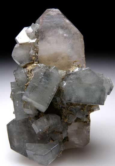 Apatite on Quartz Panasquiera Mines, Beira Baixa, Portugal Glassy blue/geen Apatite crystals adorn a clear, tabular Quartz crystal. Apatite crystals reach 1.7cm across.