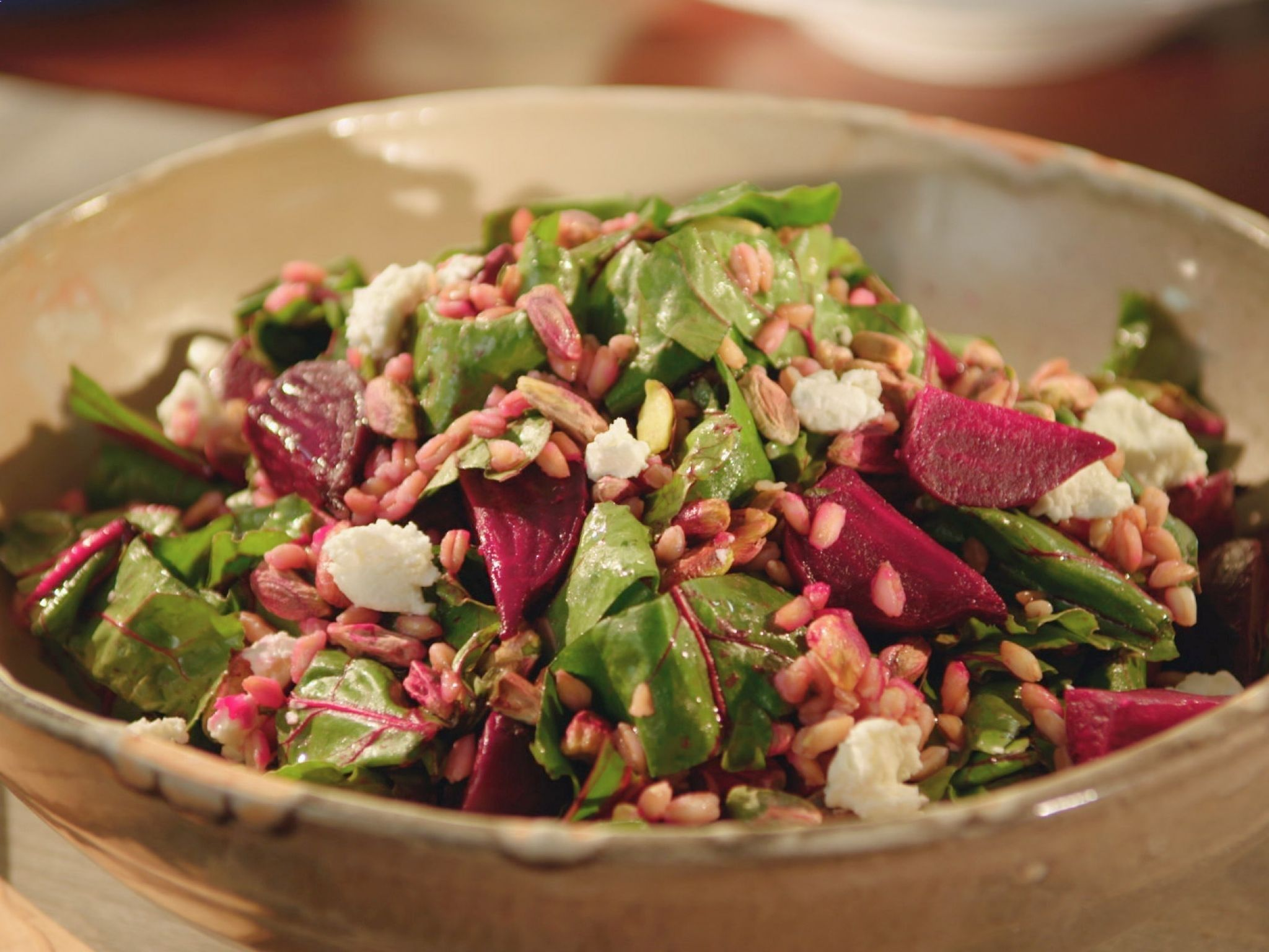 Farro Roasted Beet and Goat Cheese Salad recipe from Valerie