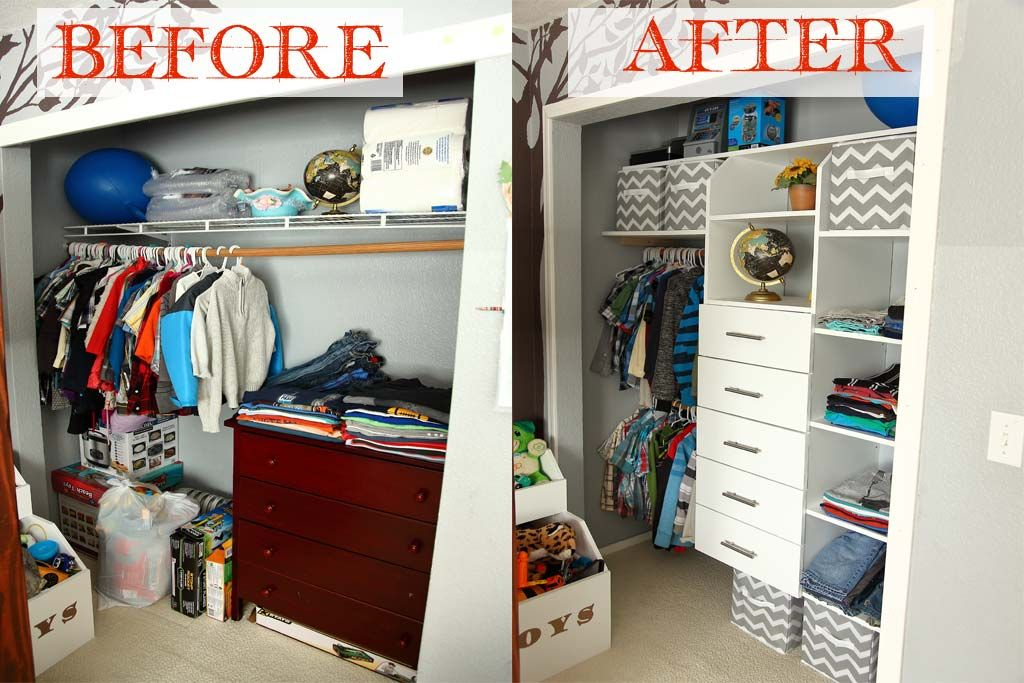 Before and after picture of diy closet organizer with