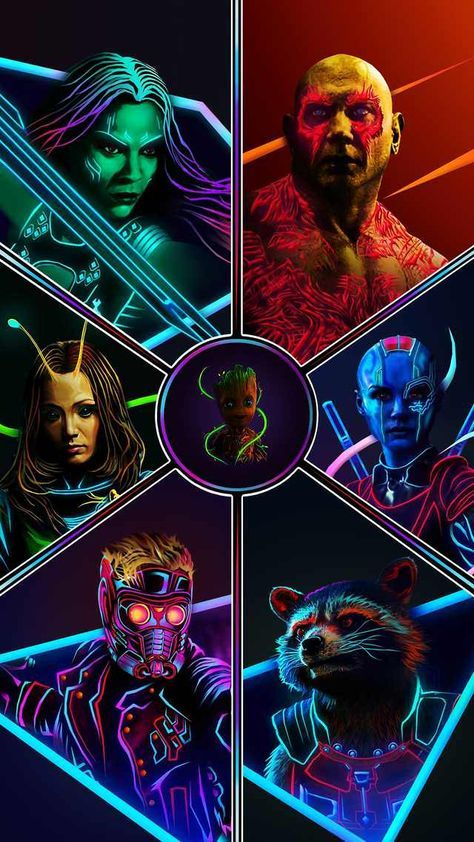 The Latest Aniketjatav Neon Post Of The Original 6 Sparked A Lot Of Requests For Wallpapers I Made Some In 4k Marvel Superheroes Marvel Marvel Comics