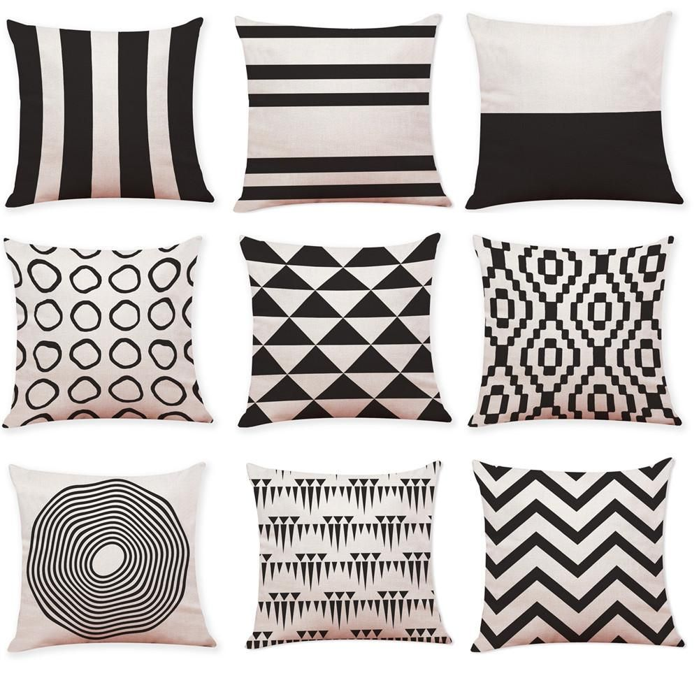 Home Decor Cushion Cover Black And White Geometry Throw