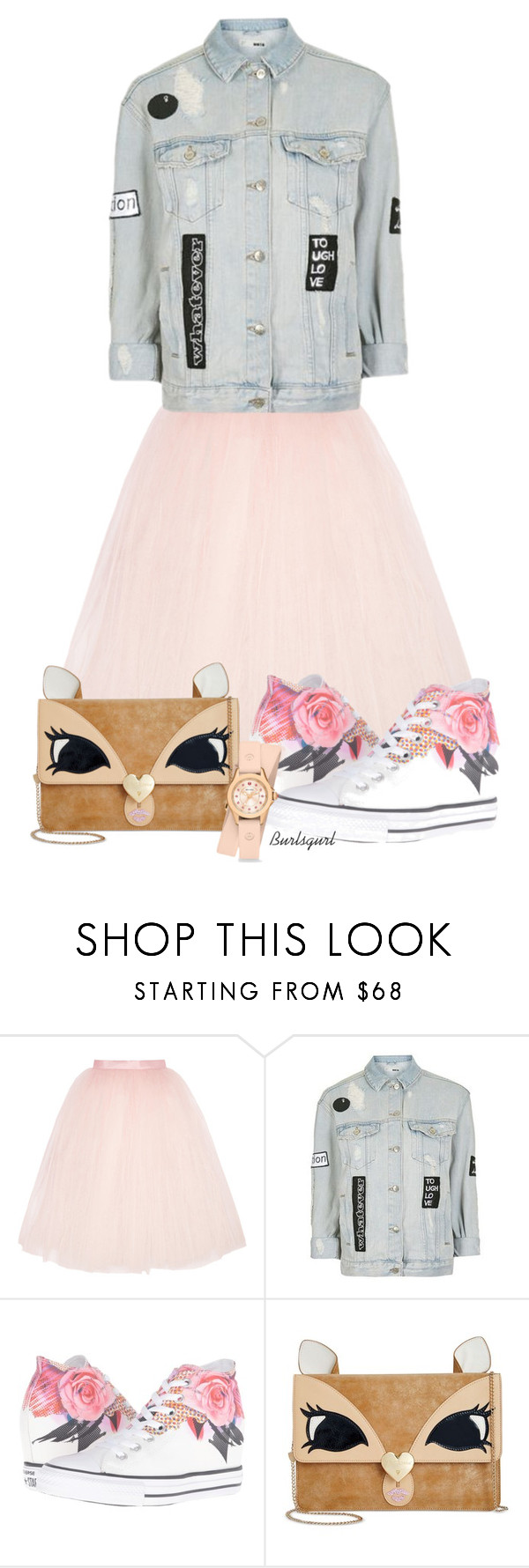 """""""TFP outfit mix"""" by burlsgurl ❤ liked on Polyvore featuring Ballet Beautiful, Topshop, Converse, Betsey Johnson and Michele"""