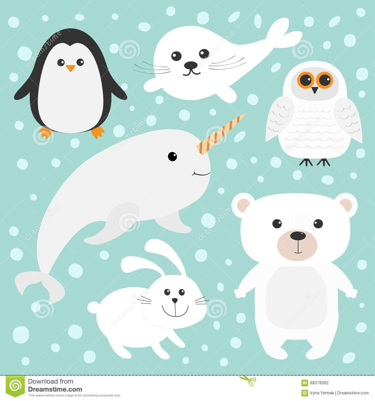 Ensemble Polaire Arctique D Animal Ours Blanc Hibou Pingouin Harpe De Bebe De Bebe Phoque Lievre Lapin Narval Licorn Polar Animals Unicorn Fish Seal Pup