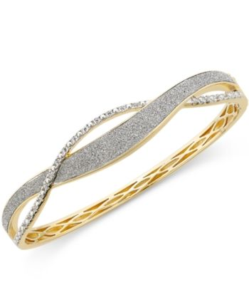 My Daily Styles Stainless Steel Gold-Tone Silver-Tone Interlocked Bangle Bracelet Set