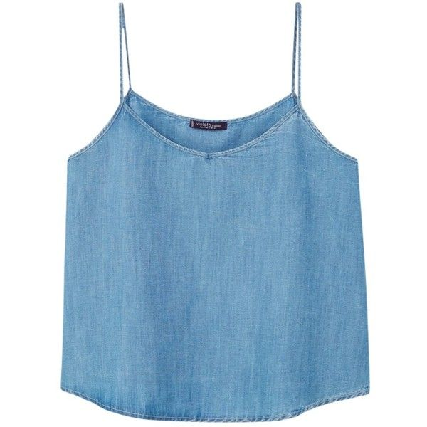 Violeta by Mango Soft Denim Top, Open Blue ($43) ❤ liked on Polyvore featuring tops, blue cami top, women plus size tops, blue cami, camisole tops and plus size tops