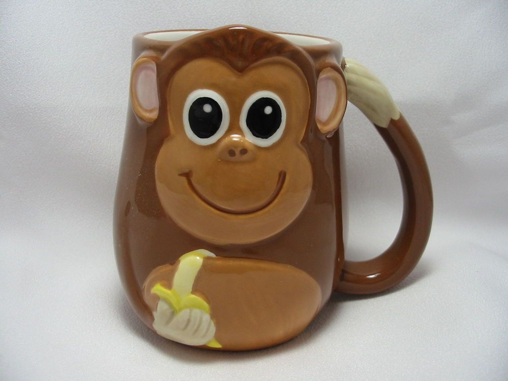Cute Monkey 16 Oz Coffee Tea Cocoa Mug Cup 3 D Figural Hand Painted By Tag New Mugs Monkey Coffee Animal Mugs