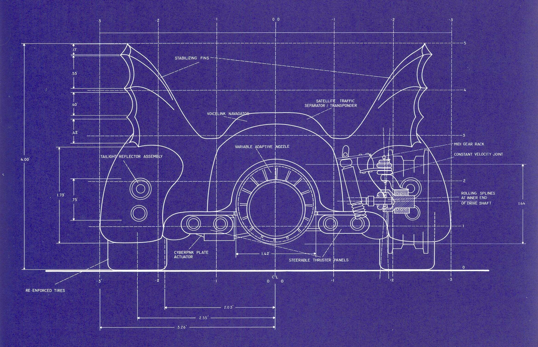 Batmobile blueprint for tim burtons batman 1989 by anton furst batmobile blueprint for tim burtons batman 1989 by anton furst back malvernweather Gallery