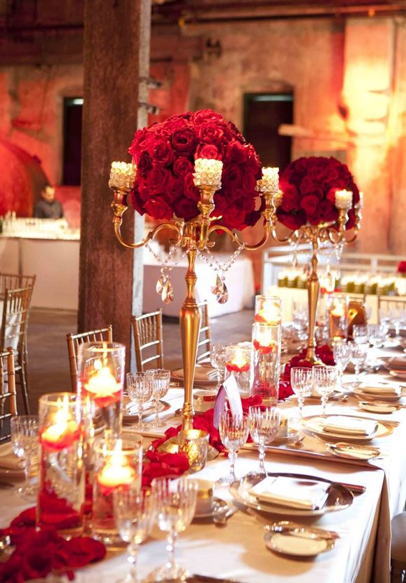 Stylish Red And Gold Wedding Reception Tablescapes Beauty
