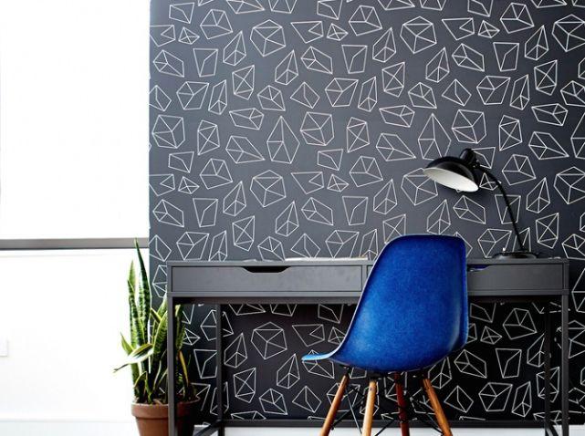 Papier peint graphique noir