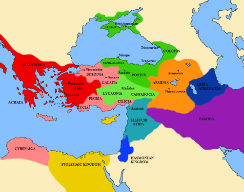 A map of the Middle east Greece and Asia minor showing the The