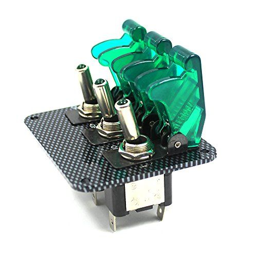 w//  carbon fiber panel GREEN LED toggle switches