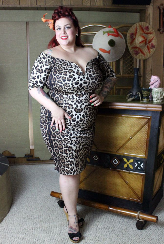 Queen of the Jungle Leopard Wiggle Dress Plus Size | Retro Summer ...